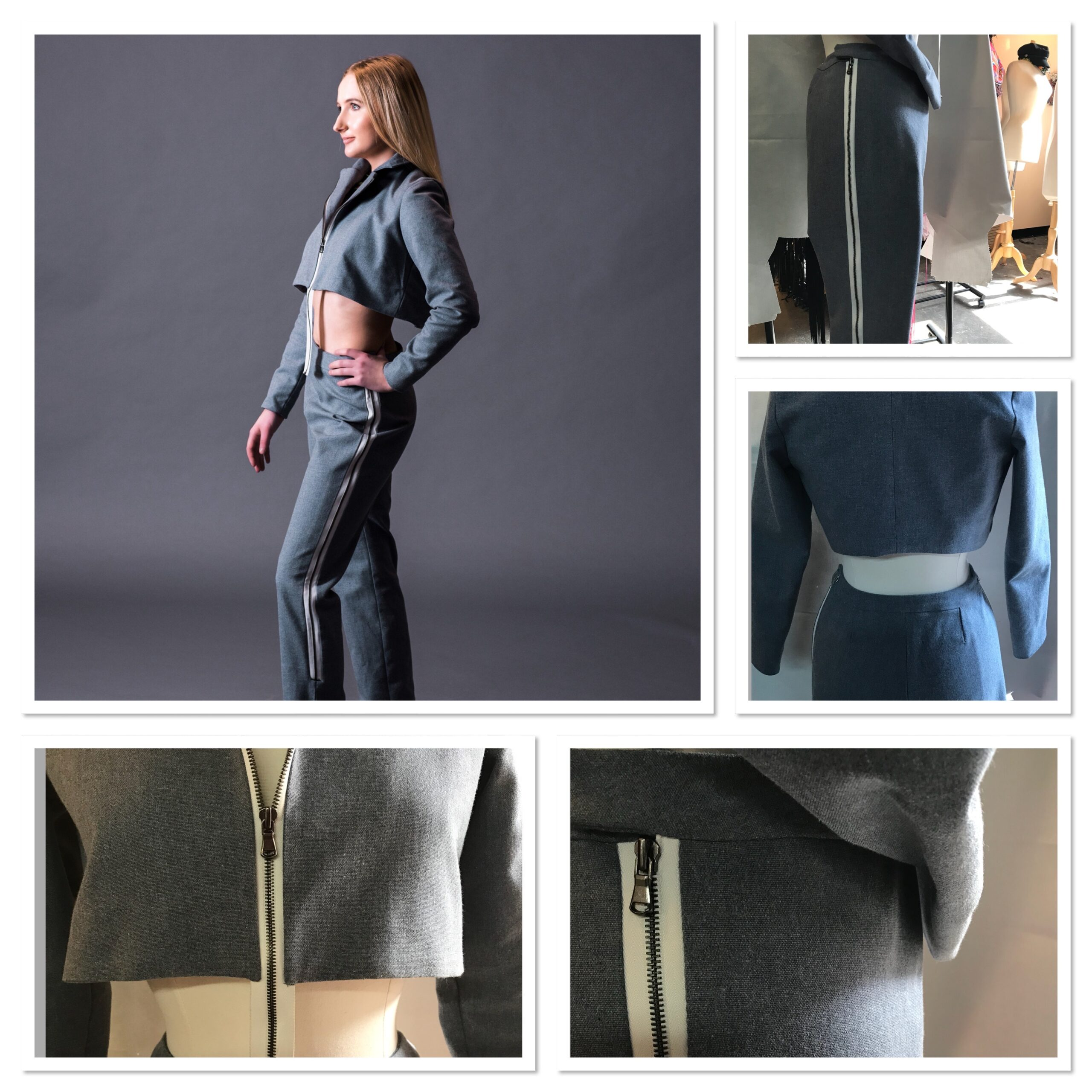 Heather Grey Crop Jacket Pant Suit in 50% Recycled plastic/50% Cotton Canvas